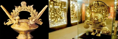 Orfèvrerie Précolombienne, musée de l'or à Lima. Pérou.