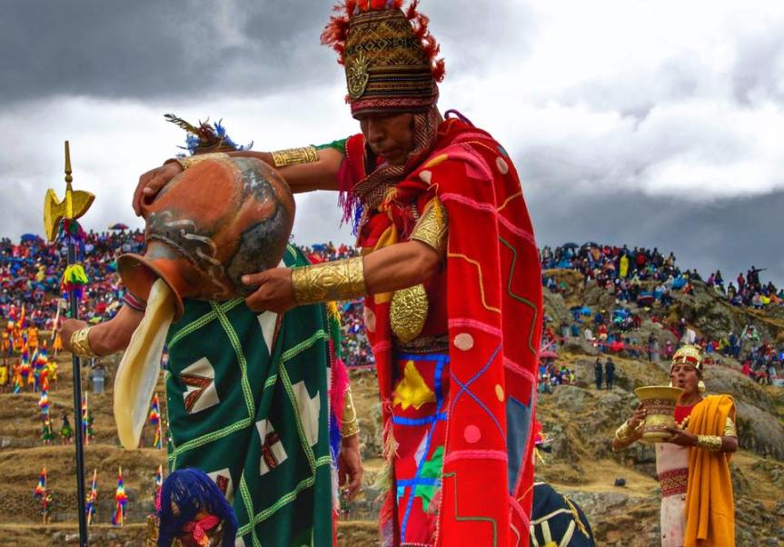 Cérémonie durant l'Inti Raymi à Cuzco.
