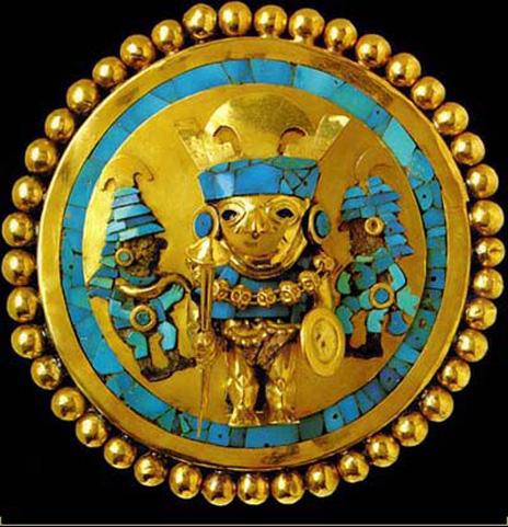"""""""Orejeras"""" (boucles d'oreilles) en or et turquoise du seigneur de Sipan, culture Moche, Lambayeque"""