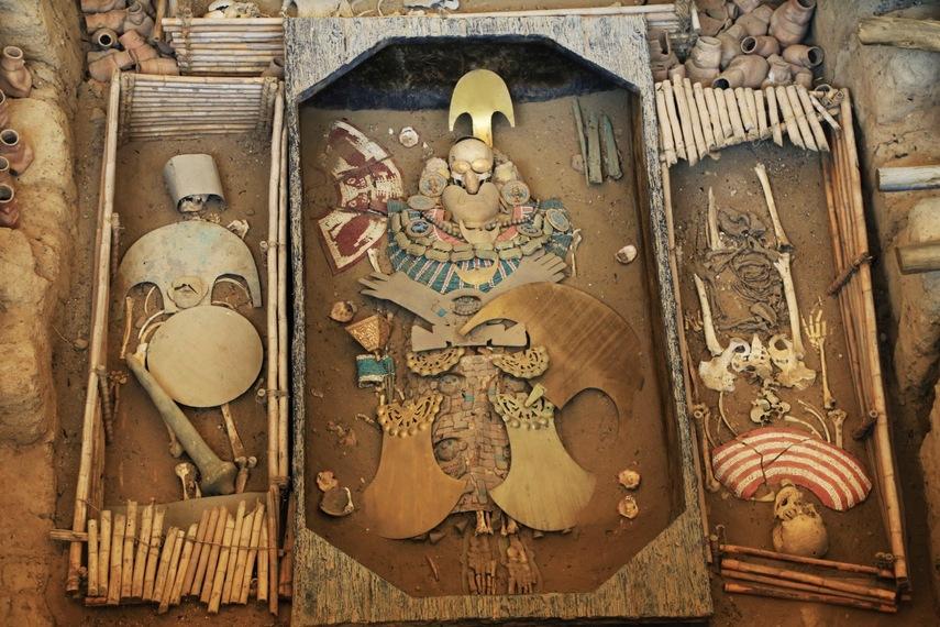 Reconstitution de la tombe du seigneur de Sipán, culture Mochica. Chiclayo.