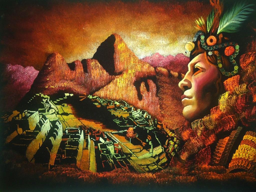 """Peinture sur velours """"Machu Picchu et l'Inca"""""""